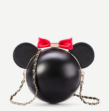 Black Minnie Mickey Mouse Bow Disney Design Crossbody Chain Small Bag Handbag