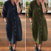 Womens Short Sleeve Sexy Plain Vintage Dresses Ladies Baggy Plus Size Midi Dress
