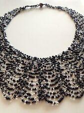 Glass Bead BLACK SILVER Collar Cascade Scalloped NECKLACE Boho Chic Hippie