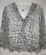 WD NY black & white flower print silk over poly satin ruffle sl  blouse 10 38 EC