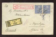 AUSTRIA 1915 REGISTERED to DENMARK CENSOR COVER 50h FRANKING