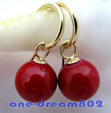 16mm round red shell pearl dangle earring