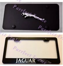 Jaguar Stainless Black Front License Plate & Frame Combo Rust Free