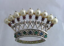 Vintage Trifari Sterling Silver&Pearls Openwork Large Crown Brooch Pin