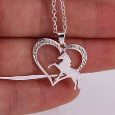 """Silvery 1"""" Rhinestone HEART with HORSE Pendant Necklace 16"""" Chain"""