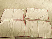 Vintage Table Placemats and napkins Set of 4 Beige with Red Trim
