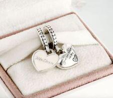 Sterling Silver Pandora Mother Daughter Hearts Pendant Charm 792072EN40 S925 Ale