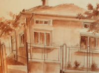 IMPRESSIONIST CITYSCAPE VINTAGE WATERCOLOR PAINTING HOUSE