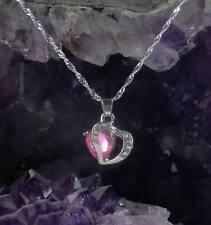 Halskette Herz Kette Herzanhänger rosa 925 Sterlingsilber silver plated