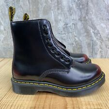 Dr Martens 1460 Pascal Front Zip Size 6 Womens Cherry Red Leather Boots Shoes