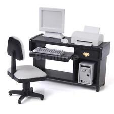 Doll House Miniature Office Furniture Computer System Set Printer Desk Chair