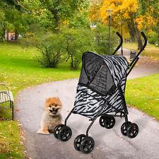 Lightweight 4 Wheels Folding Pet Stroller Cart for Dogs & Cats Carrier