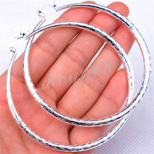 Ladies Classic 925 Sterling Silver Big Diamond Cut/Fishscale Large Hoop Earrings