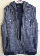Men's Winter Large Navy Blue Hooded Zip UP Soft Vest Size Large Speckled White