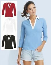 Women's Cotton Long Sleeve Sleeve Collared Semi Fitted Tops & Shirts