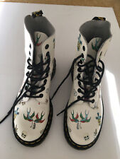 Dr Martens White Leather Louie Pascal  Tattoo Boots UK Size 4/37