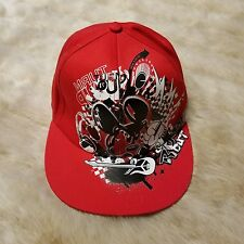 Disney Parks Mickey Mouse Red Flat Bill Hat Turn It Up Rock Out HipHop Adult Cap