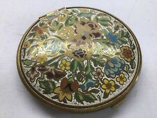 Vintage Volupte Makeup Powder Compact With Enameled Flower Design