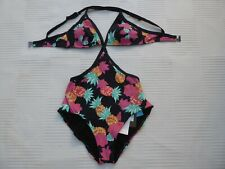 BNWT Sunseeker pineapple print cut out sides padded top swimming costume Size 8