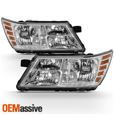 Fits 2009-2018 Dodge Journey Chrome Headlights Lamps Complete Replacement Set
