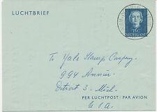 "2402 NL 1953 Queen Juliana 35 C blue Air Letter ""AMSTERDAM – DETROIT, Michigan"