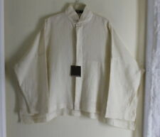 NWT Eskandar 1 OYSTER Ivory Linen Imperial Collar Hi-Low Shirt Blouse Top
