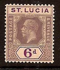 ST LUCIA 1921-24 KING EDWARD SC # 86 MLH