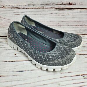 Skechers Memory Foam Slip On Shoes Womens US Size 10 Comfort Quilted Gray Flats