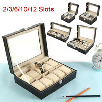 12 Slots PU Leather Wrist Watch Box Display Case Organizer Glass Jewelry Storage