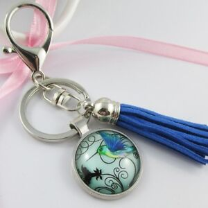 Hummingbird Charm Bag Tag Keychain Keyring with Blue Faux Suede Tassel 115mm