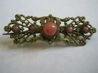 """Victorian Long Pin C Clasp BRASS FILIGREE 1 1/2"""" Brooch w/ 5 CORAL CABOCHONS"""