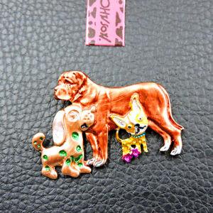 Hot Betsey Johnson Gold Enamel Cute Dogs Charm Animal Brooch Pin Gift