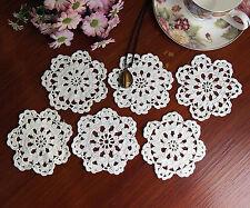 6pcs Fine Yarn Cotton Hand Crochet Doily Doilies Cupmat Round 10CM White