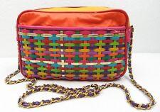 Vintage Braided Leather Hobo Shoulder Bag Colorful Multi Color Stripe NICE !!
