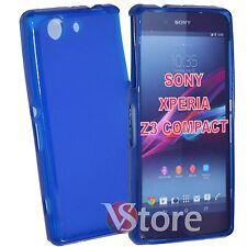 Cover Custodia Per Sony Xperia Z3 Compact Mini D5803 Blu Silicone + Pellicola