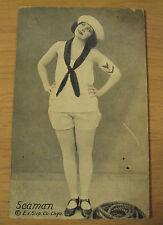 """Antique ca 1915 Pin Up GIRL~Exhibit Supply Co/Chicago~""""SEAMAN""""~Sailor Girl~"""