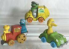 Lot of 3 VINTAGE Playskool Sesame Street Diecast Vehicles - Oscar, Bird & Cookie