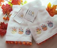 tt & LOLA Face Tip Cotton Towels Embroidered Pumpkins Orange Pom Pom SET OF 4
