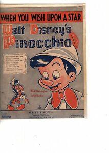 WALT DISNEY PINOCCHIO VINTAGE 1939 (WHEN YOU WISH UPON A STAR) SHEET MUSIC (jr1
