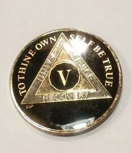 """5 Year AA Coin BLACK Enamel, Gold, Silver 1⅜"""" Traditional Size Recovery Five V"""