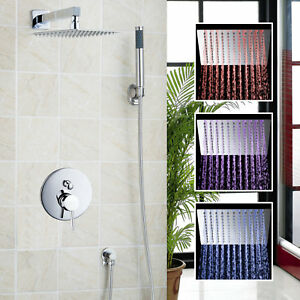 "8"" Rainfall LED Chrome Shower Faucet Wall Mounted Mixer Shower Hand Sprayer Taps"