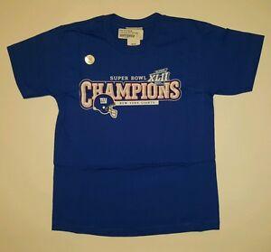 Reebok New York Giants Superbowl XLII Championship Shirt Blue Sz Youth Large New