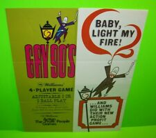 Gay 90's Pinball FLYER Original Williams 1970 Game Artwork Baby Light My Fire