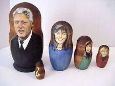 Russian Matryoshka Wooden Nesting Doll Clinton, Monica Paula, Kathleen & Sax