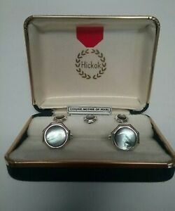 Vintage Hickok Silver Tone, Mother of Pearl Cuff Links & Tux Buttons in Orig Box