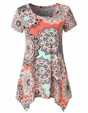 Women Casual Printed Sleeveless Shirt Asymmetrical Loose Tunic Blouse Vest Tops