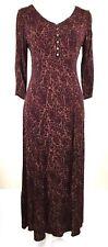 EDDIE BAUER womens dress SMALL burgundy floral v-neck 3/4 sleeves side zip (E357