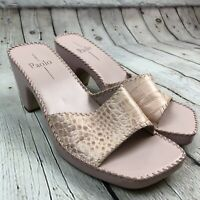 Linea Paolo Pink Croc Embossed Leather Slides Shoes Womens Size 9.5M Heeled