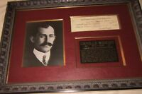 Aviator Pioneer Orville Wright Signs Check on His Birthday--Exceptionally Framed