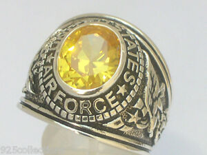 925 Silver United States Air Force Military November Yellow CZ Men Ring Size 10
